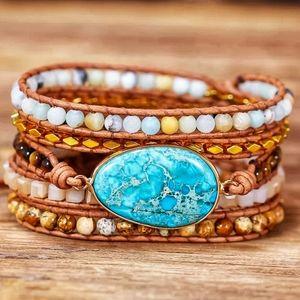 Sea Sediment Jasper Leather Wrap Bracelet